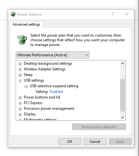 find USB settings and expand it to find USB selective suspend setting