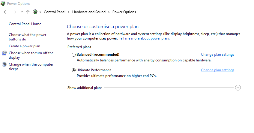 click on the Change plan settings option next to your currently active profile. Now click on Change advanced power settings