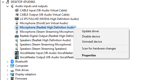 select Update driver which will open a new window on your screen