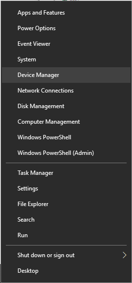 press Windows Key + X on your keyboard and open Device Manager.