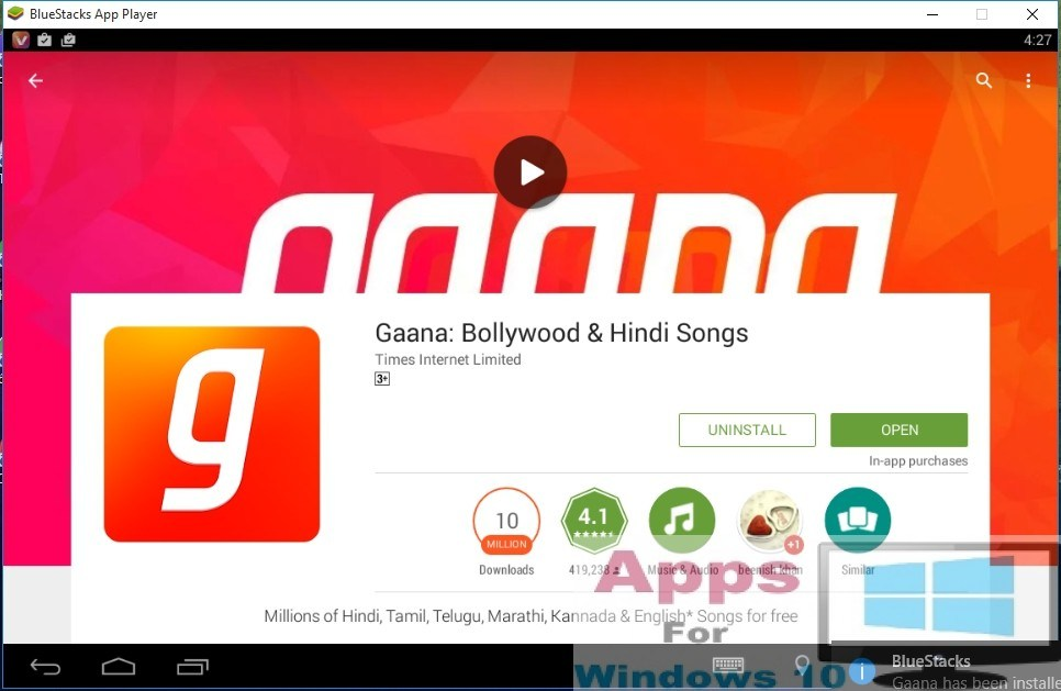Gaana app install on PC