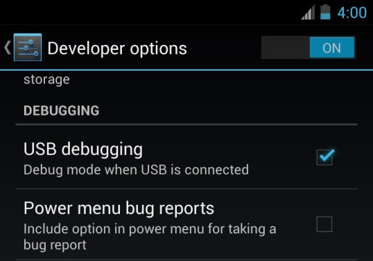 enable the USB Debugging Mode in your smartphone